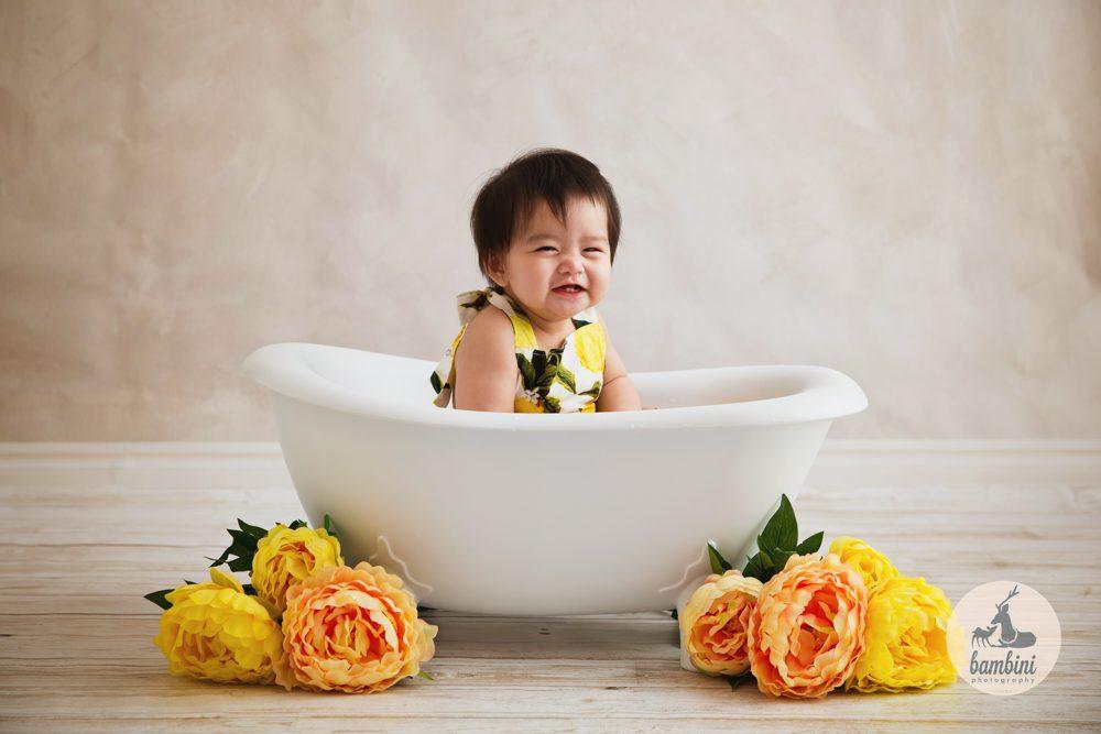 6 Months Baby Milk Bath Shoot