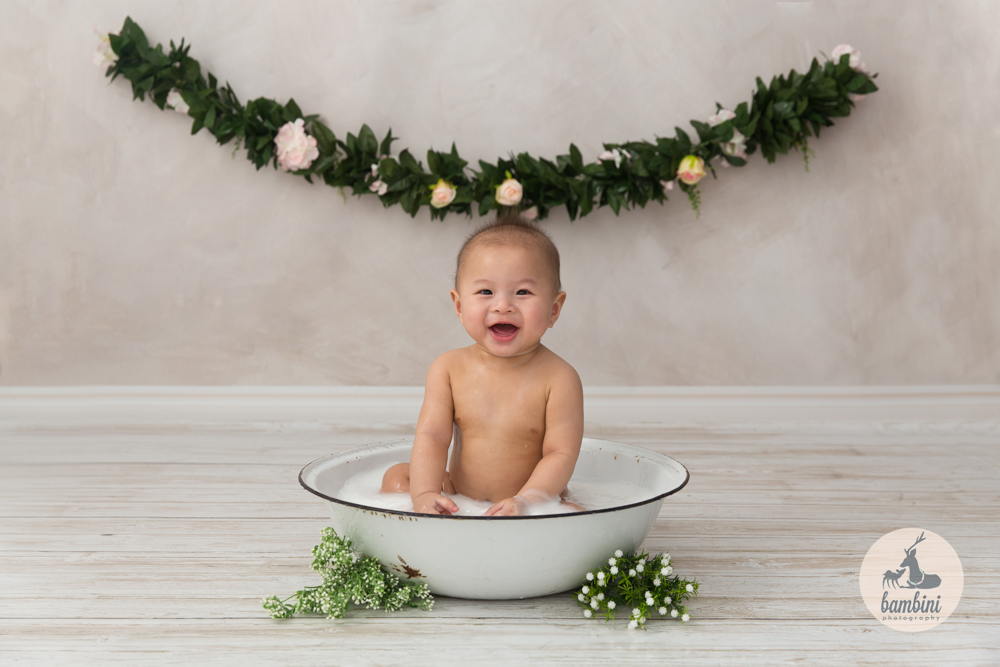 Studio Baby Milk Bath Photography