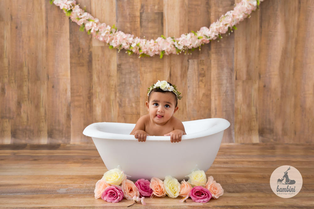 6 Months Baby Girl Milkbath Photoshoot