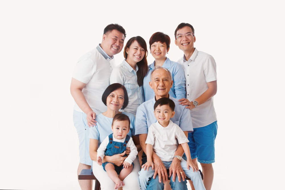 Extended family portrait studio singapore big family portrait