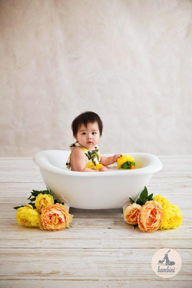 6 Months Baby Milk Bath
