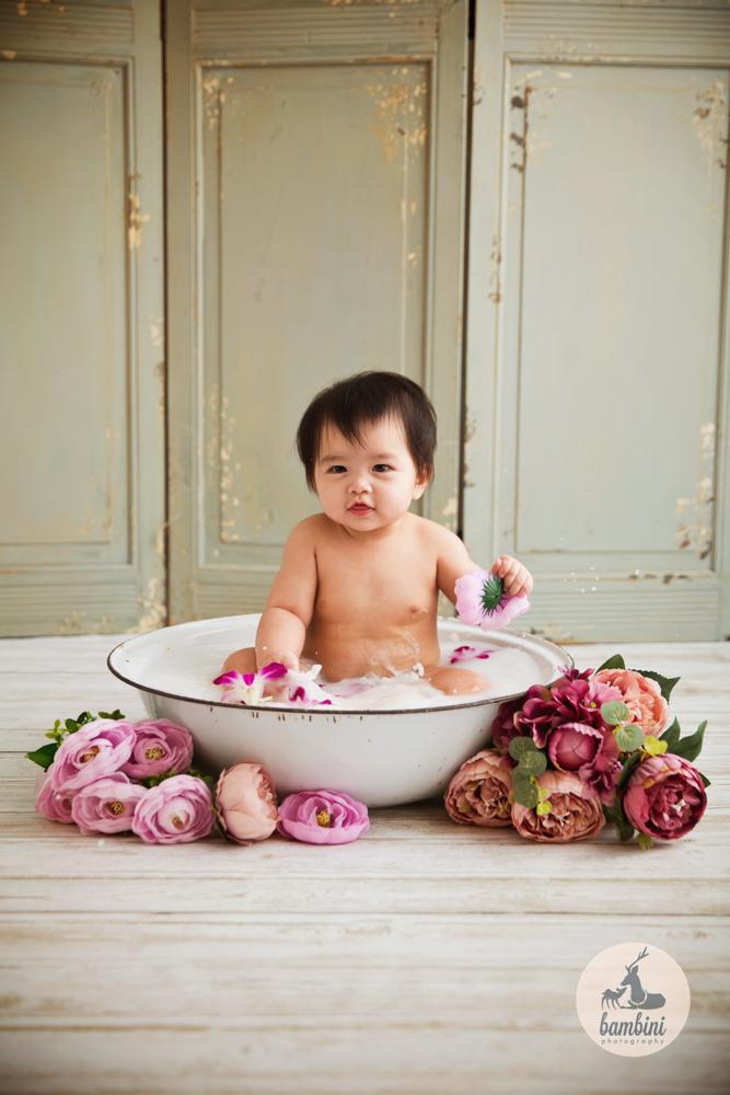 8 Months Baby Milk Bath Tub Shot