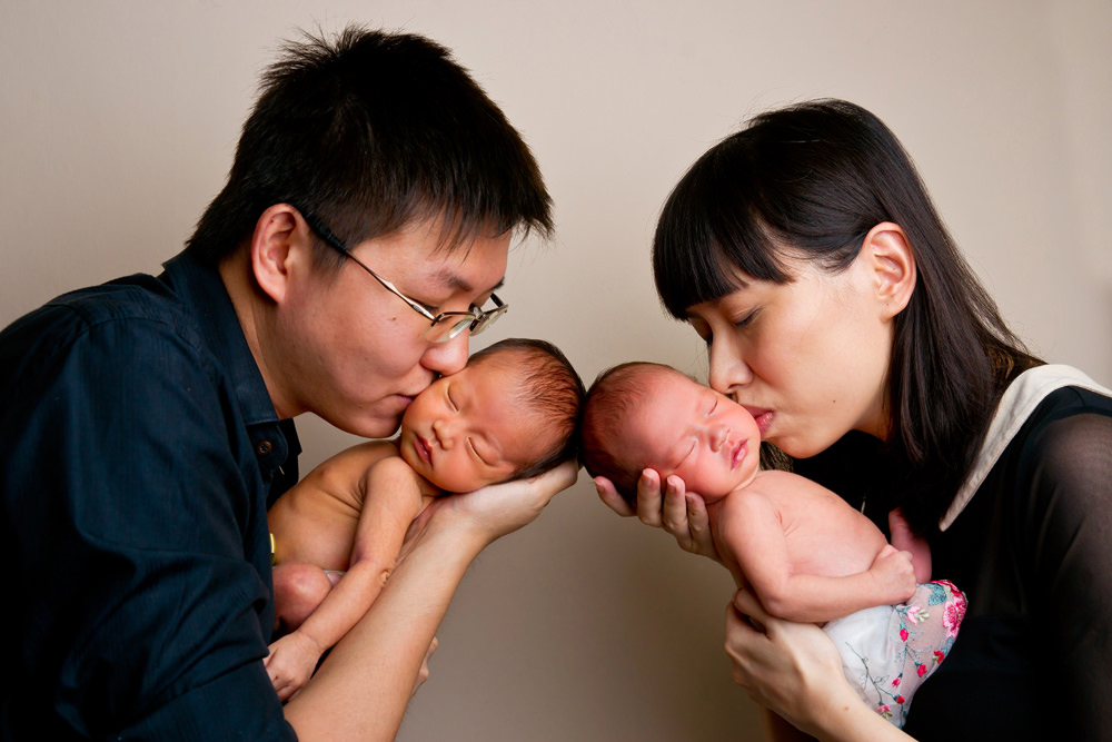 Gung ho parents newborn twins home photography